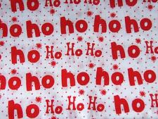 CHRISTMAS white and red HO HO HO! polycotton material fabric for craft bunting