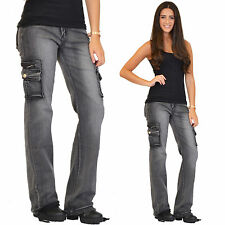 New Womens Ladies Grey Loose Faded Wide Denim Combat Pants Trousers Cargo Jeans