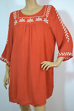 Umgee Embroidered Mini Bell Tunic Dress-Plus - Rust  XL-1XL-2XL