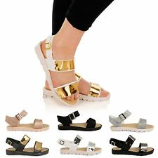 LADIES FLAT ANKLE STRAP CLEATED SOLE CHUNKY SANDALS FLATFORM STRAPPY SHOES SIZE