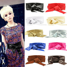 New Womens Soft Faux Leather Self Tie Bow Wrap Around Wide Waist Band Boho Belt
