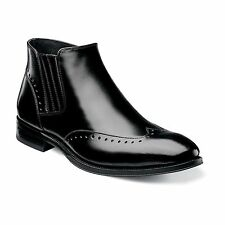 Stacy Adams Mens Black Kingsley Leather Side Zip Wingtip Formal Dress Ankle Boot