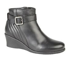 Mod Comfys Leather Wedge Inside Zip/Buckle Strap Ankle Boots