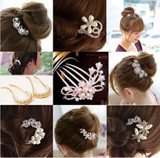 Nice Bridal Wedding Inlaid Crystal Rhinestone Flower HairClip CombPin Accessory