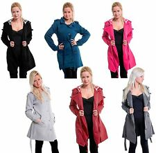 Eskaay Womens Check Hood Fleece Belted Jacket Long Sleeve Jumber Button Coat