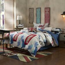 England Clock Single Double Queen King Size Bed Set Pillowcase Quilt Duvet Cover