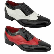 Mens Patent Shiny Leather Spats Gangster Fancy Dress Smart Brogue Party Shoes