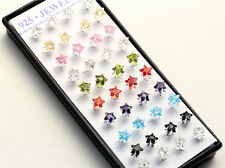 40X Wholesale Silver Plated Colorful Crystal Stud Earring With Display Box