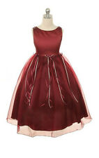New Burgundy Flower Girl Dress Pageant Wedding Birthday Party Bridesmaid Baby