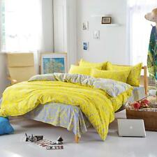 Bright Yellow Single Double Queen King Size Bed Set Pillowcase Quilt Duvet Cover