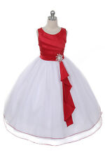 New Flower Girls Red Dress Party Pageant Wedding Bridesmaid Christmas Formal
