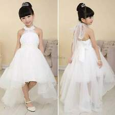 2015 Hot Kids Girls White Flower Bridesmaid Party Wedding Pearl Dress For 3-13Y