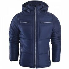 Mens Hooded Puffer Jacket Quilted Bomber Padded Winter Coat Detachable Hood