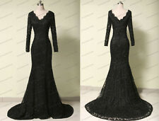 Black Lace Long Mermaid Formal Prom Dresses Party Evening Pageant Ball Gown