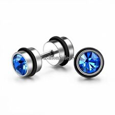 Men Women Fashion Unique Stainless Steel Dumbbell Rhinestone Ear Studs Earrings