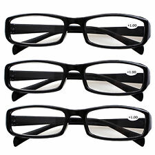 3 Pack Classic Reading Glasses Black Frame Mens Womens Spectacles in 7 Strengths