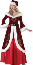 ADULTS WOMENS HOLIDAY MRS CLAUS CHRISTMAS MRS ST NICK COSTUME - 4 SIZES