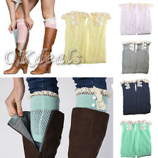 Women Soft Winter Leg Warmers Socks Button Crochet Knit Boot Socks Toppers Cuffs