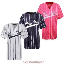 WOMENS LADIES NEW YORK STRIPES AMERICAN BASEBALL VARSITY NY JERSEY TOP T-SHIRT