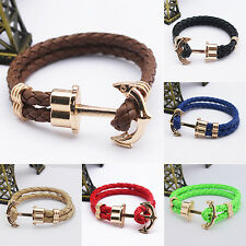 Womens Mens Hot Trendy Faux Leather Handmade Wristband Anchor Bracelet Bangle