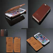 100% Real Genuine Flip Luxury Leather Case Cover Skin For iPhone 5 5S 6S 6plus