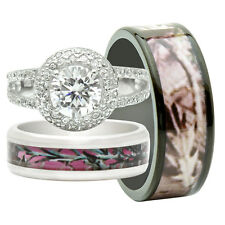 His and Hers 3PCS Titanium Camo 925 Sterling Silver Engagement Wedding Rings Set