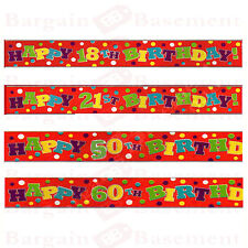 HAPPY BIRTHDAY Multicoloured Birthday Banners 18th,21st,50th & 60th Foil Banner