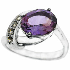 925 Sterling Silver 2.50 Ct Natural Purple Amethyst & White CZ Ring