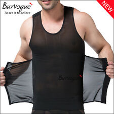 Black & White Men Slimming Body Shaper Waist Girdle Shirt Tummy Belly Trainer