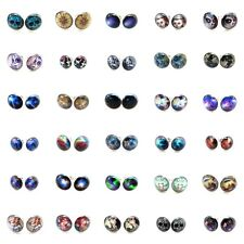 20g 0.8mm Top 30 Items #1 Arcylic Face Silver Steel Ear Plugs Fake Earrings Stud