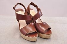 NIB PRADA CALZ DONNA BROWN LEATHER ESPADRILLE WEDGES MADE IN ITALY