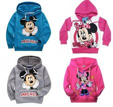 2-7Y Boys Girls Cartoon Mickey/Minnie Mouse Cotton Hoodies Kids Sweatshirt Coat