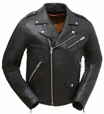 Mens Black Naked Leather Vented Classic Biker Jacket w Vents & Zipout Liner