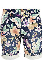 Mens Armstrong Shorts Bellfield Pure Cotton Floral Print Turn Up Designer Chinos