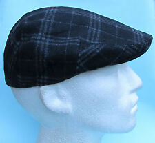 Flat Cap Black Grey Chequered Tartan Wool