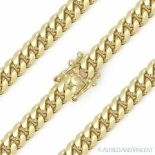 6.6mm Miami Cuban Curb Link Italy Sterling Silver 14k Yellow Gold Chain Bracelet