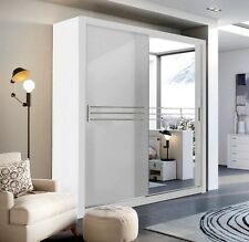 Brand New Modern Bedroom Wardrobe Mirror Sliding Door Havana 203/250cm in White