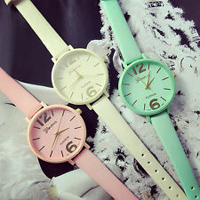 Unique Geneva Candy Jelly Color Faux Leather Quartz Analog Dress Wrist Watch