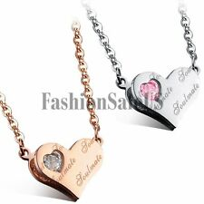 "Women's Stainless Steel CZ ""soul mate"" Love Heart Charm Pendant Necklace Chain"