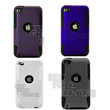 For Apple iPod Touch 4th Gen Fusion Back Cover Case  with Black Silicone Skin