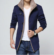 New Mens Winter Jacket Woolen Overcoat Parka Fleece Jacket Trench Slim Coat Tops