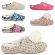 LADIES DUNLOP WOMENS MULES SLIP ON HOUSE SLIPPERS WINTER WARM INDOOR SHOES