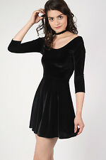 PILOT® 3/4 Sleeve Velvet Skater Dress in Black