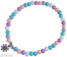 ANKLET with Small SNOWFLAKE CHARM Acrylic Beads on Elastic 19 Colour Choices