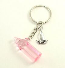 Pink Nautical Navy SAILBOAT Baby Bottle Key-chain Baby Shower Birthday Favors
