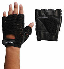 Gym Body Building Mesh Leather Weight Lifting Gloves Exercise Training strap Bar