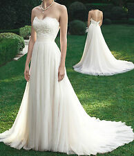 White Ivory Beach Chiffon Wedding Dress Bridal Gown Size Custom 6 8 10 12 14 16+
