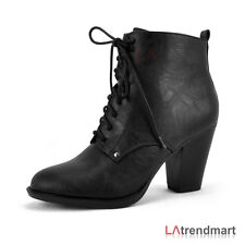 New Hot Ladies Fashion Ankle Bootie Faux Leather Chunky Heel Lace Up Zipper Bow