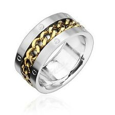 Men's Women's Ring Silver Gold Chains 7 Gr. Stainless Steel New-- Jewellery From