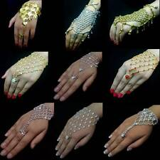 Bollywood Belly Dance Slave Bracelet Ring Rhinestone Hand Decoration